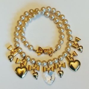 Vintage gold & heart crystals pearl necklace